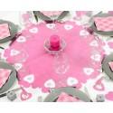 Centre de table intisse perfore coeur deco fushia gris