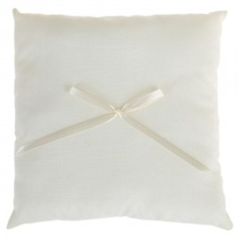 Coussin alliances coton ivoire et noeud ruban