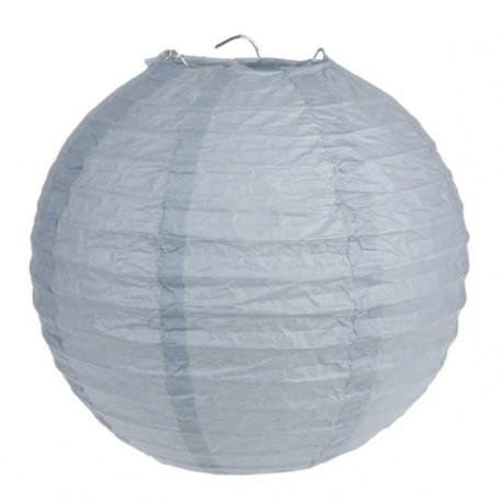 Lanterne boule chinoise papier gris 30 cm les 2