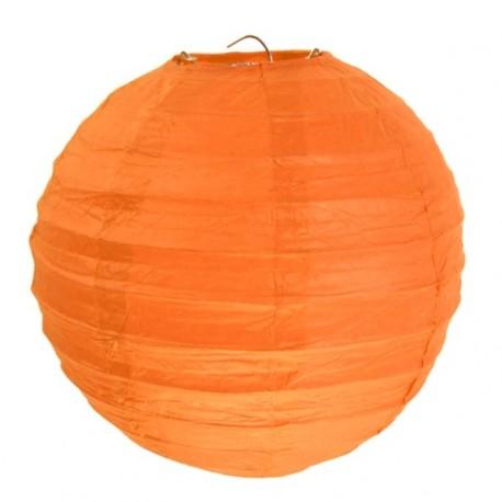 Lanterne boule chinoise papier orange 30 cm les 2