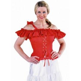Déguisement blouse Carmen rouge deluxe femme