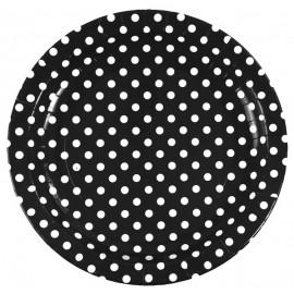 Assiette Carton noir à Pois blanc 23 cm les 10- Assiette à Pois