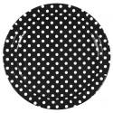 Assiettes Carton noir à Pois blanc 23 cm les 10
