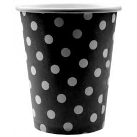Gobelets Carton Noir à Pois Blanc les 10