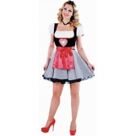 Costume Bavaroise Dirndl Noir Blanc Deluxe Femme