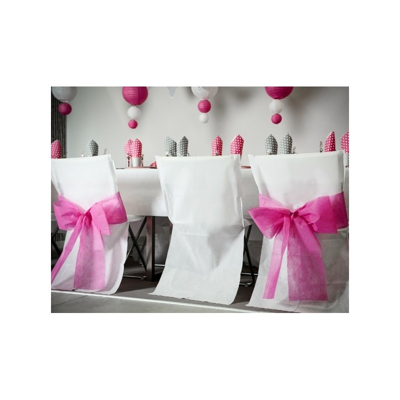 Housse de chaise blanche intiss opaque les 4 achat for Housses de chaises blanches