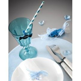 Pailles rayées bleu turquoise blanc en papier les 20