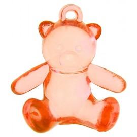 Perles ours rouge transparent 2.9 cm les 6