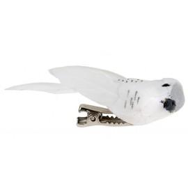 Perruche Blanche en plumes sur pince 6 cm les 2