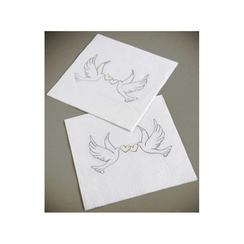 serviette de table colombe papier blanc cass les 20. Black Bedroom Furniture Sets. Home Design Ideas