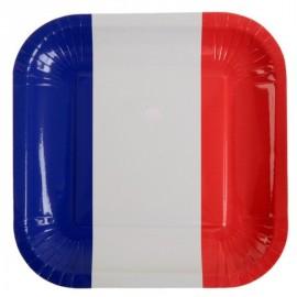 Assiettes France drapeau Français carton 23 cm les 10