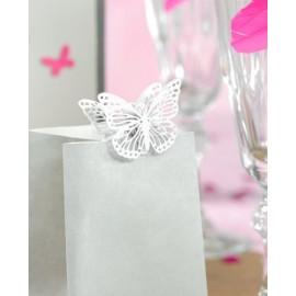 Papillon en metal sur pince les 4 double papillons