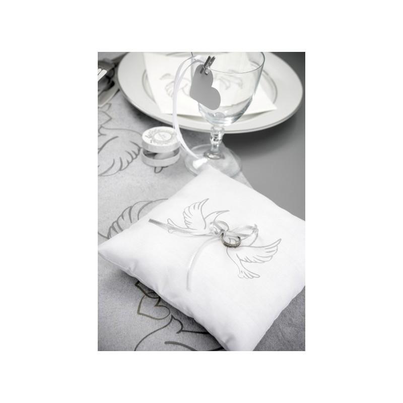 coussin alliances colombes coton blanc coussins. Black Bedroom Furniture Sets. Home Design Ideas