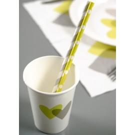 Pailles vert anis à pois blancs en papier les 20