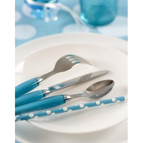 Pailles bleu turquoise à pois blancs en papier les 20