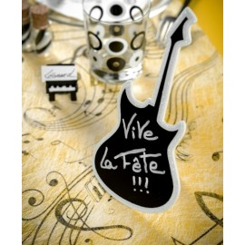 Marque Table Guitare Ardoise Blanc Paillete en bois 20 cm