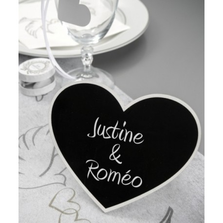 Marque Table Coeur Ardoise Blanc en bois 15 cm