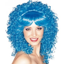 Perruque bleue bouclee deluxe femme