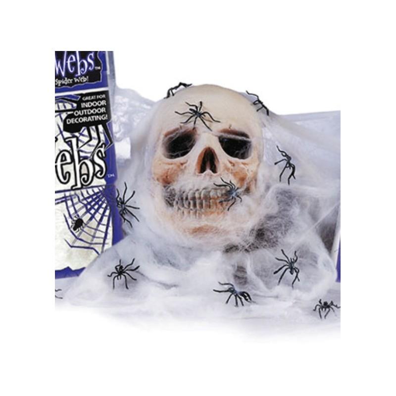 toile d 39 araign e blanche et 4 araign es halloween 60 g. Black Bedroom Furniture Sets. Home Design Ideas