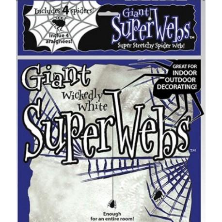 Toile d'araignée blanche et 4 araignées Halloween 60 g