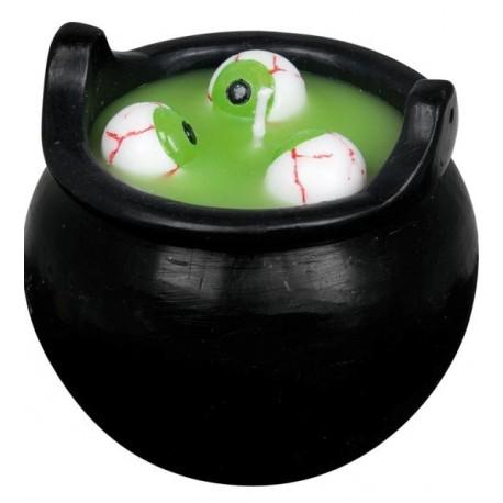 Bougie chaudron Halloween avec yeux, vert