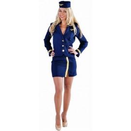 Costume Hôtesse de l'air Bleu Marine Deluxe Femme