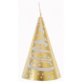 Bougie Sapin de Noël or blanc 7.5 cm