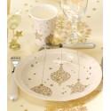 Assiettes Flocon de neige or carton ivoire 23 cm les 10