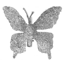 Papillon Argent pailleté sur pince les 4