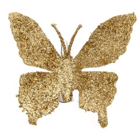 Papillon Or Pailleté sur Pince les 4