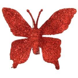 Papillon rouge pailleté sur pince les 4