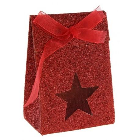 Boîtes à dragées Etoile rouges pailletées les 4