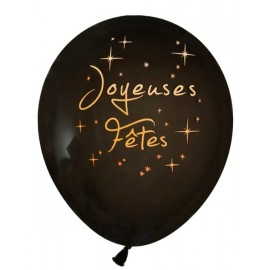 Ballons Joyeuses Fêtes Noir Or 23 cm les 8