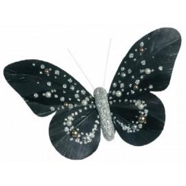 Papillons Perles Noir Argent sur Pince Les 2