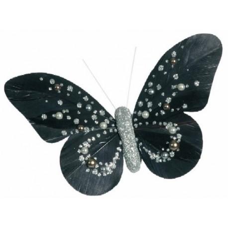 Papillons Perles Noir Argent