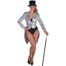 Queue de Pie Cabaret Argent Paillettes Sequin Femme Luxe