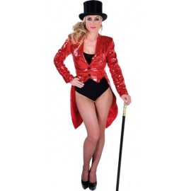 Costume Queue de Pie Cabaret Rouge Paillettes Sequin Femme Luxe