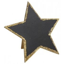 Marque table ardoise étoile or pailleté 15 cm