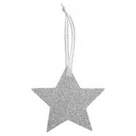 Marque place étoile argent pailleté avec ruban les 6