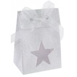 Boîtes à dragées Etoile blanc pailleté les 4