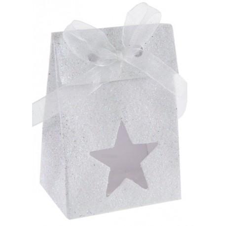 Boîte à dragées étoile blanc pailleté les 4