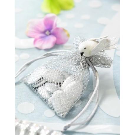 Oiseau blanc pailleté sur pince 4 cm les 2