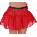 Déguisement jupon court dentelle rouge femme luxe