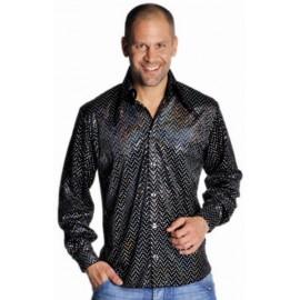 Déguisement Chemise Disco Noire Paillettes Homme Luxe