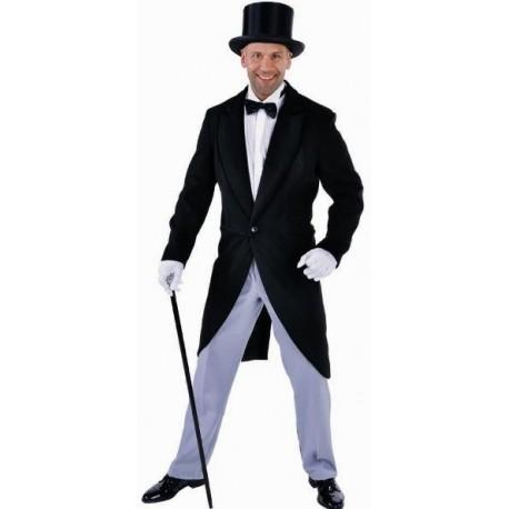 Costume Queue de Pie Noire Chic Luxe Homme Wool like