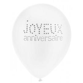 Ballon joyeux anniversaire blanc noir 23 cm les 8