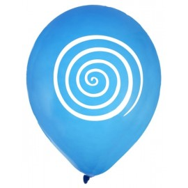 Ballons spirale turquoise blanc 23 cm les 8