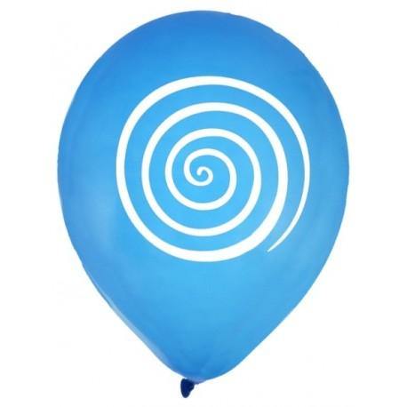 Ballons spirale turquoise blanc 23 cm les 8