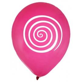 Ballons spirale fuchsia blanc 23 cm les 8