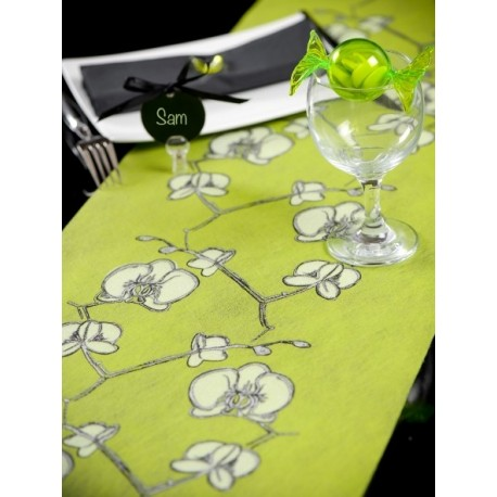 chemin de table orchid e intiss vert anis 5 m. Black Bedroom Furniture Sets. Home Design Ideas
